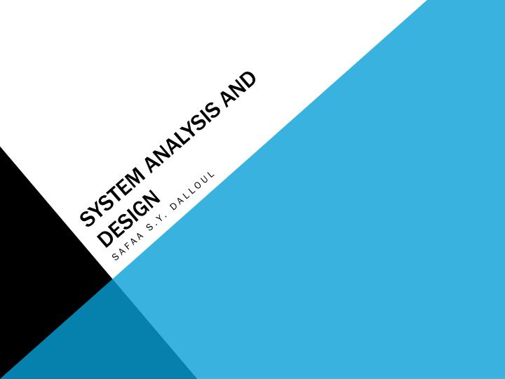 system analysis and design n.