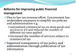 reforms for improving public financial management