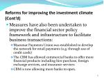 reforms for improving the investment climate cont d