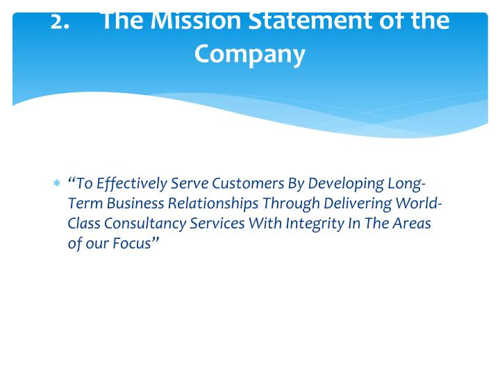 2 the mission statement of the company