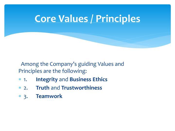 Core Values / Principles