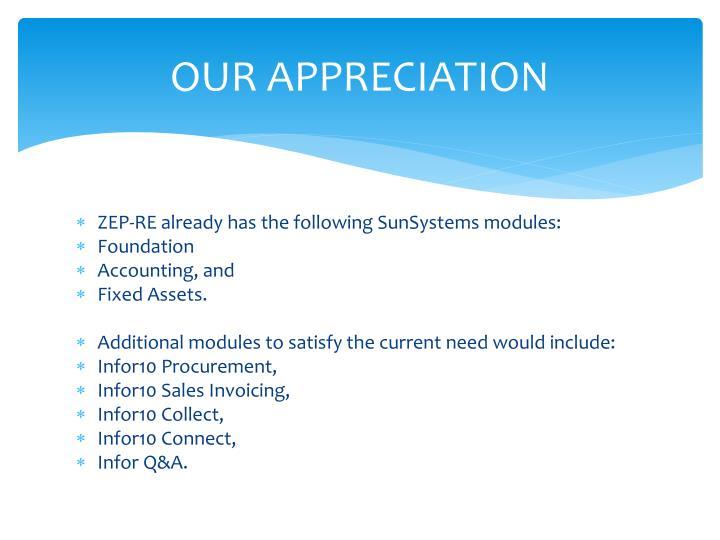 OUR APPRECIATION