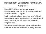 independent candidates for the npc congress
