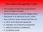 fire hazard recognition cont