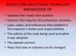 inspectors must have thorough knowledge of