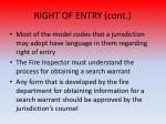 right of entry cont