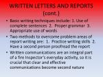 written letters and reports cont2