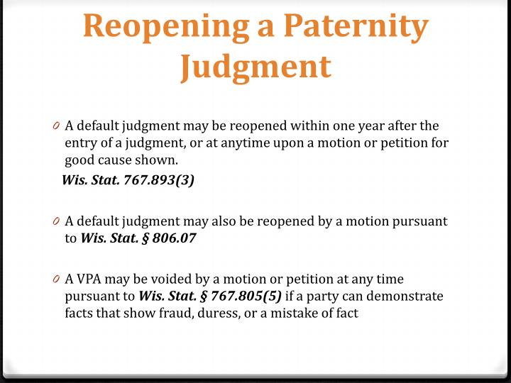 Reopening a Paternity Judgment