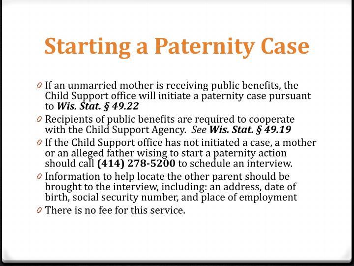 Starting a Paternity Case