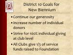 district 10 goals for new biennium