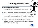 entering time in e2101