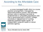 according to the affordable care act