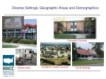 diverse settings geographic areas and demographics