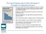 the harsh reality about how shortage of providers is impacting access