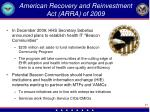 american recovery and reinvestment act arra of 2009