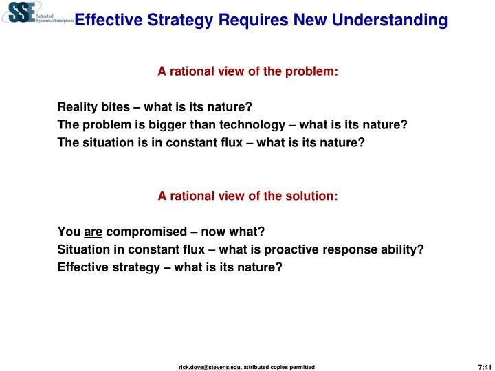 Effective Strategy Requires New Understanding