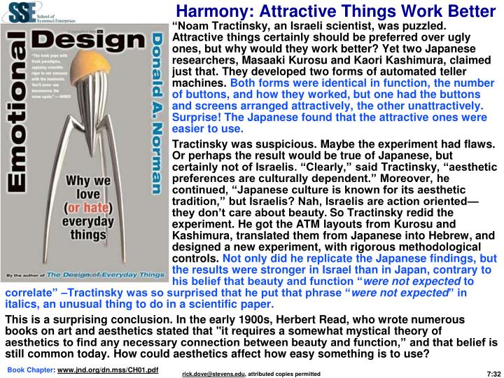 Harmony: Attractive Things Work Better