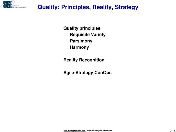 Quality: Principles, Reality, Strategy