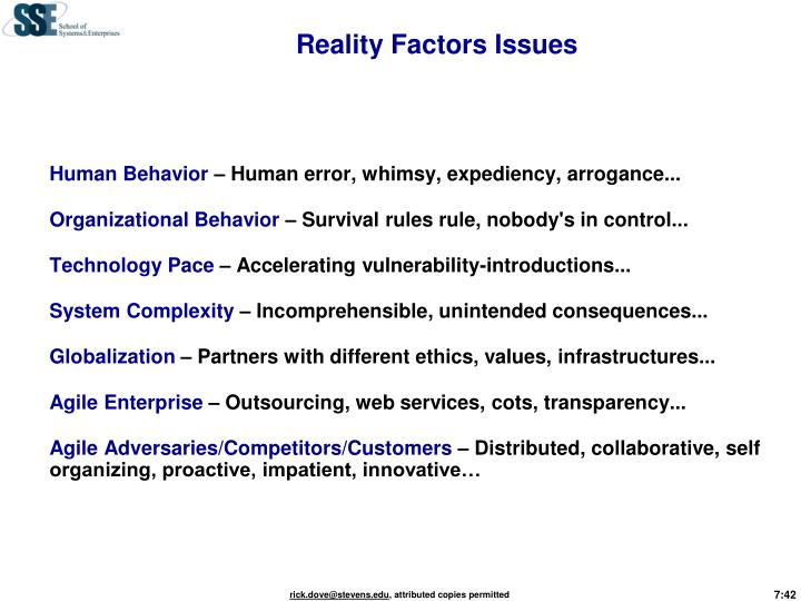 Reality Factors Issues