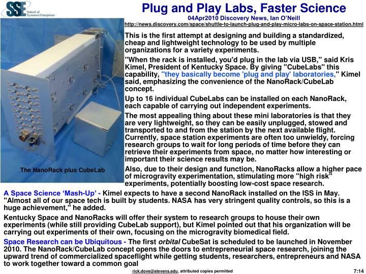 Plug and Play Labs, Faster Science