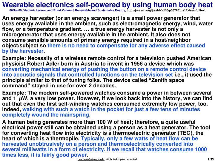 Wearable electronics self-powered by using human body heat
