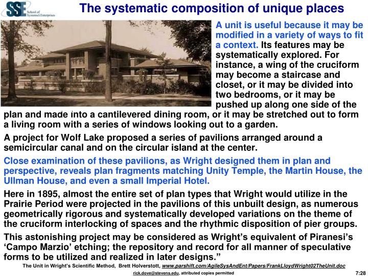 The systematic composition of unique places