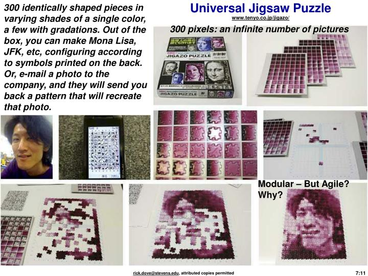 300 identically shaped pieces in varying shades of a single color, a few with gradations. Out of the box, you can make Mona Lisa, JFK, etc, configuring according to symbols printed on the back. Or, e-mail a photo to the company, and they will send you back a pattern that will recreate that photo.