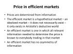 price in efficient markets
