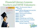 financial literacy lessons teachers and nfte volunteers