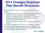 2014 changes employer plan benefit structures1