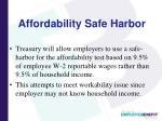 affordability safe harbor