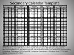 secondary calendar template