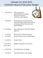 calendar for 2014 2015 colchester board of education budget