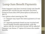 lump sum benefit payments