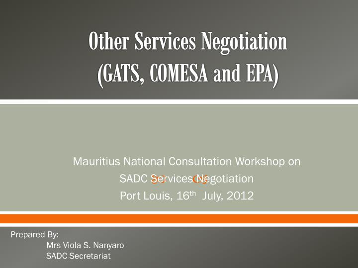 other services negotiation gats comesa and epa n.