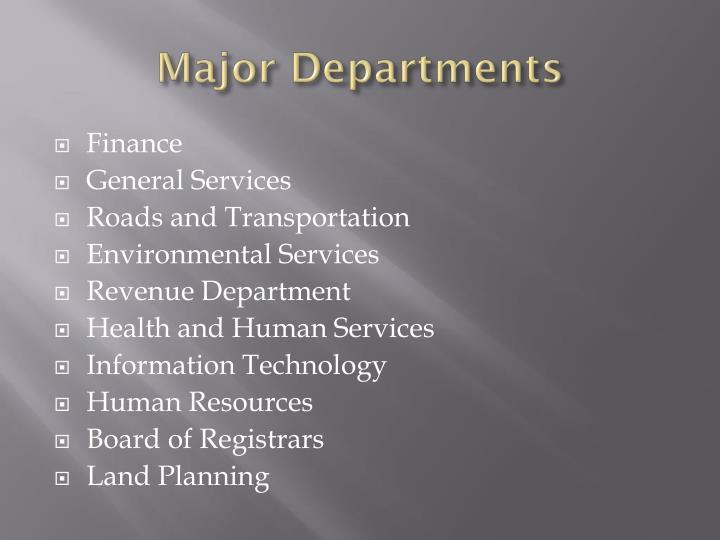 Major departments