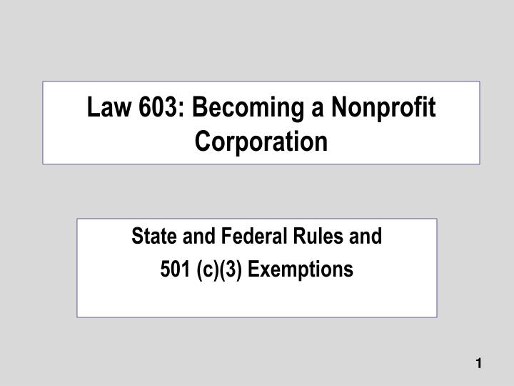 law 603 becoming a nonprofit corporation n.