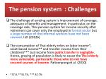 the pension system challenges