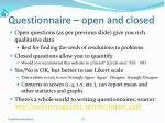 questionnaire open and closed