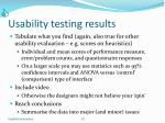 usability testing results