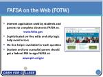 fafsa on the web fotw