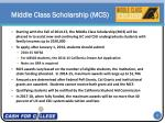 middle class scholarship mcs