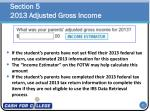 section 5 2013 adjusted gross income