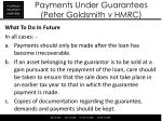 payments under guarantees peter goldsmith v hmrc3