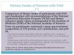 dietary intake of patients with pad