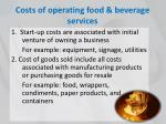 costs of operating food beverage services