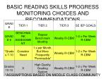 basic reading skills progress monitoring choices and recommendations
