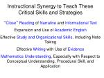 instructional synergy to teach these critical skills and strategies