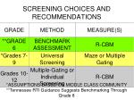 screening choices and recommendations