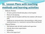 iii lesson plans with teaching methods and learning activities